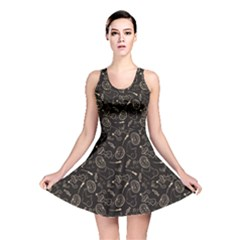 Black Halloween Pattern With Smiling Ghost Pumpkin Witch Reversible Skater Dress by CoolDesigns