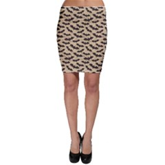Brown Bats Design Pattern Bodycon Skirt by CoolDesigns