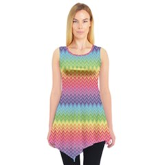 Colorful Chevron Rainbow Colored Pattern Sleeveless Tunic Top by CoolDesigns