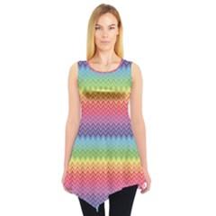 Colorful Chevron Rainbow Colored Pattern Sleeveless Tunic Top