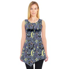 Blue Cute Pattern Night Life Cats And Bats Sleeveless Tunic Top by CoolDesigns