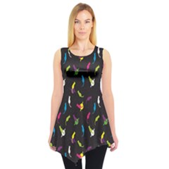 Colorful Space With Cats Saturn And Stars Sleeveless Tunic Top by CoolDesigns
