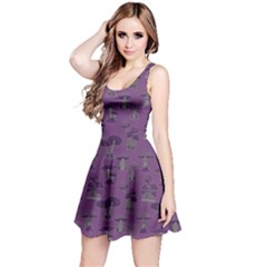 Purple Mushroom Pattern Sleeveless Dress