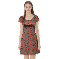 Red Poppy Pattern Short Sleeve Skater Dress by CoolDesigns