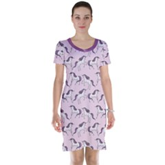 Purple Unicorn Seamless Short Sleeve Nightdress by CoolDesigns