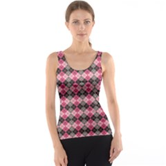 Colorful Argyle Pattern In Pink And Black Tank Top by CoolDesigns