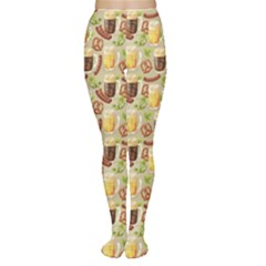 Colorful Glass Mugs Lager Dark Beer Hop Pretzel Sausage Pattern Tights by CoolDesigns