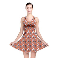 Red Cartoon Bull Terrier Pattern Reversible Skater Dress