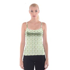 Green Green Cannabis Leaves Pattern Spathetti Strap Top by CoolDesigns