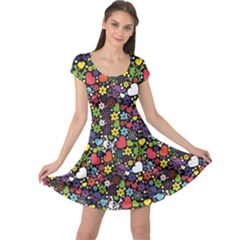 Colorful Flowers Skulls And Hearts Pattern Cap Sleeve Dress by CoolDesigns