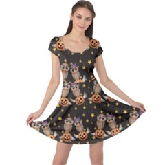 Black Halloween Two Cartoon Owls With Pumpkins Cap Sleeve Dress by CoolDesigns
