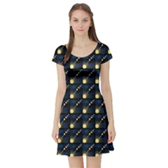 Dark Planets Of Solar System In Orbit Aorund The Sun Short Sleeve Skater Dress by CoolDesigns