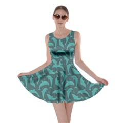 Green Mosaic Pattern With Dolphins Skater Dress