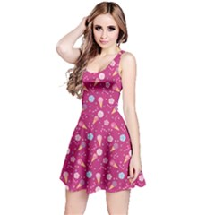 Red Pattern Of Sweets Ice Cream Candy Sleeveless Dress