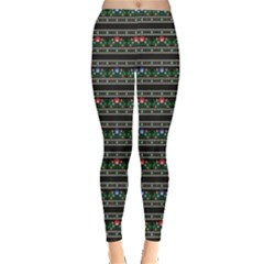 Dark Polish Folk Art Pattern With Flowers Wzory Lowickie Leggings by CoolDesigns