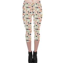 Colorful Pattern With Sushi Capri Leggings by CoolDesigns