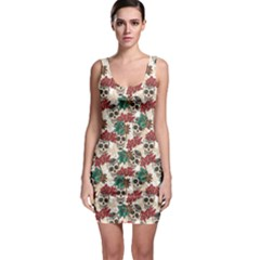Colorful Skull Hearts And Flowers Bodycon Dress by CoolDesigns