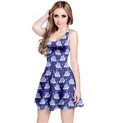 Navy Blue Tone Cute Cats Pattern Sleeveless Dress by CoolDesigns