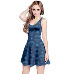 Navy Blue Australian Boomerang Kangaroo Koala Pattern Sleeveless Dress by CoolDesigns