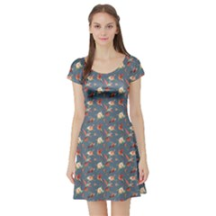 Blue Hummingbird And Tropical Short Sleeve Skater Dress by CoolDesigns