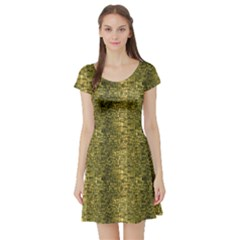Green Leather Animal Snake Reptile Crocodile Pattern Short Sleeve Skater Dress by CoolDesigns