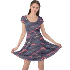 Purple Vintage Pattern With Mustache And Stripes Retro Style Cap Sleeve Dress by CoolDesigns