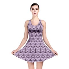 Purple With Sea Anchors Stylish Design Reversible Skater Dress by CoolDesigns