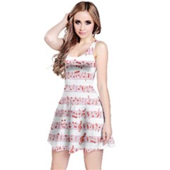 Pink Music Heart Note Sound Love With Shadow Valentine Sleeveless Skater Dress by CoolDesigns