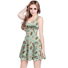 Green Icecream Pattern Sleeveless Skater Dress