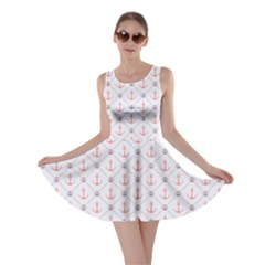 Gray Retro Pattern Polka Dot With Anchors Skater Dress by CoolDesigns