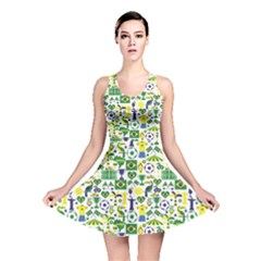 Green Brazil Pattern Stylish Design Reversible Skater Dress by CoolDesigns