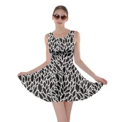 Black And White Leaves Pattern Skater Dress by CoolDesigns