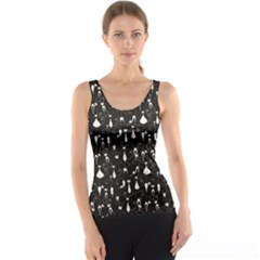 Black White Cats On Black Pattern For Your Design Tank Top by CoolDesigns