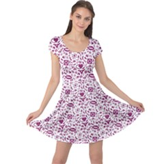 Purple Sex Pattern Cap Sleeve Dress