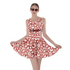 Pink Christmas Pattern Of Icons Skater Dress by CoolDesigns