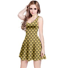 Green Gold Shiny River Fish Scales Short Sleeve Skater Dress by CoolDesigns