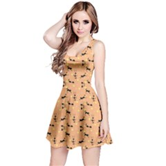 Brown Pattern With Black Cats And Hearts Short Sleeve Skater Dress by CoolDesigns