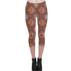 Brown Composition With Sun And Moon Capri Leggings by CoolDesigns
