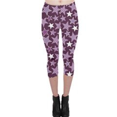 Purple Stars And Stripes Pattern Capri Leggings by CoolDesigns