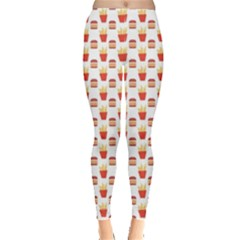 Pink Hamburger And Fries Pattern Leggings