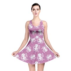 Purple Cute Octopus Stylish Design Reversible Skater Dress by CoolDesigns