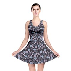 Purple Mushroom Pattern Stylish Design Reversible Skater Dress by CoolDesigns