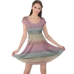 Pink Colorful Rainbow Chevron Pattern Cap Sleeve Dress by CoolDesigns