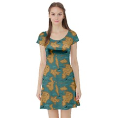 Green Adventure Map Pattern Stylish Design Short Sleeve Skater Dress