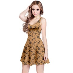 Brown Pattern Of African Tribal Musicians Sleeveless Skater Dress