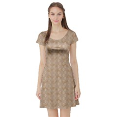 Brown Pattern Ways Dog Paw Prints And Legs Of A Man Short Sleeve Skater Dress by CoolDesigns