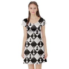 Black A Seamlessly Repeatable Glossy Chessboard With Chess Short Sleeve Skater Dress by CoolDesigns