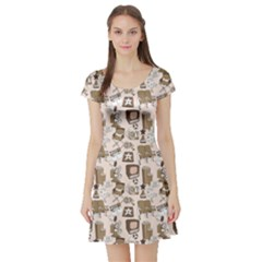 Brown Cinema Entertainment Decorative Pattern With Camera Short Sleeve Skater Dress by CoolDesigns