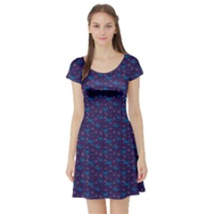 Blue Dark Blue Christmas Pattern With Blue Goats  Short Sleeve Skater Dress by CoolDesigns