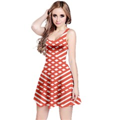 Red Tile Red And White Pattern Or Wallpaper Sleeveless Skater Dress